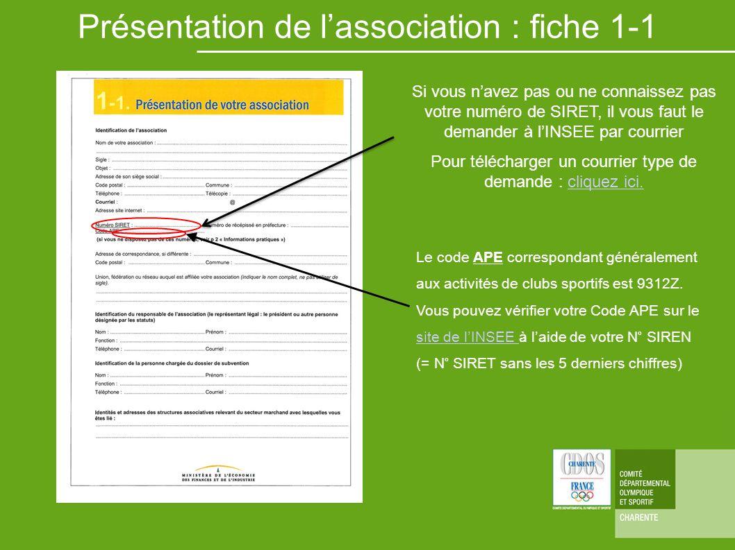 Présentation de l'association : fiche 1-1