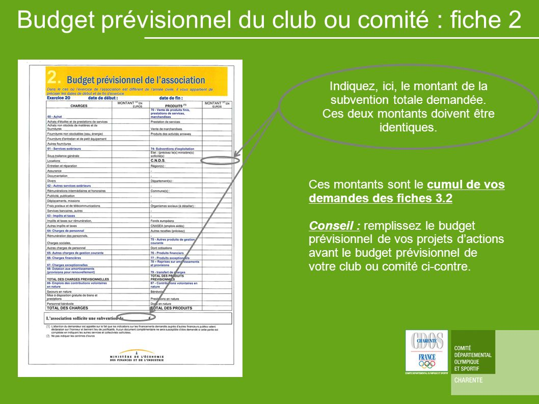 Budget prévisionnel du club ou comité : fiche 2