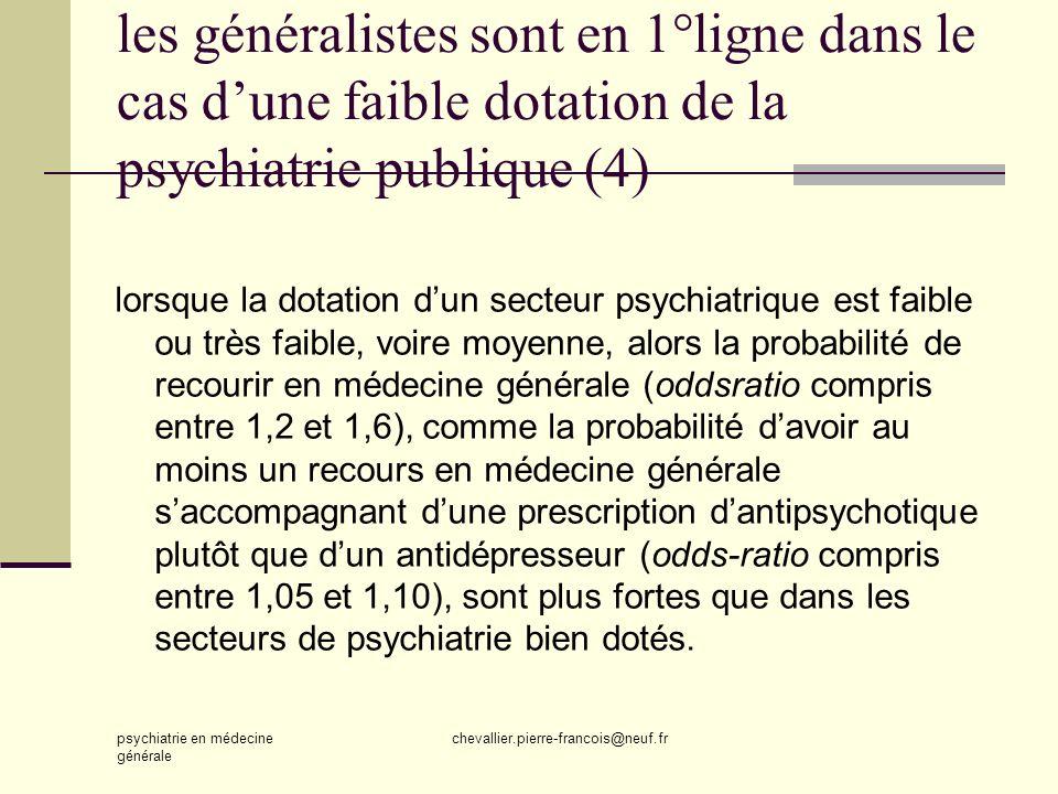 les généralistes sont en 1°ligne dans le cas d'une faible dotation de la psychiatrie publique (4)