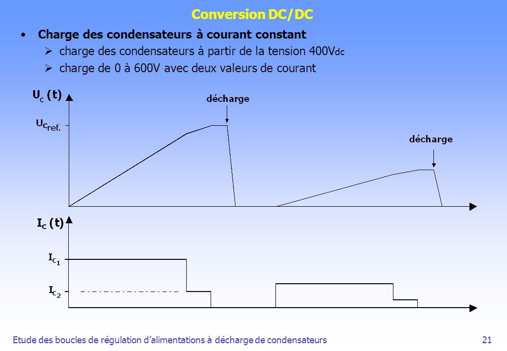 Conversion DC/DC Charge des condensateurs à courant constant