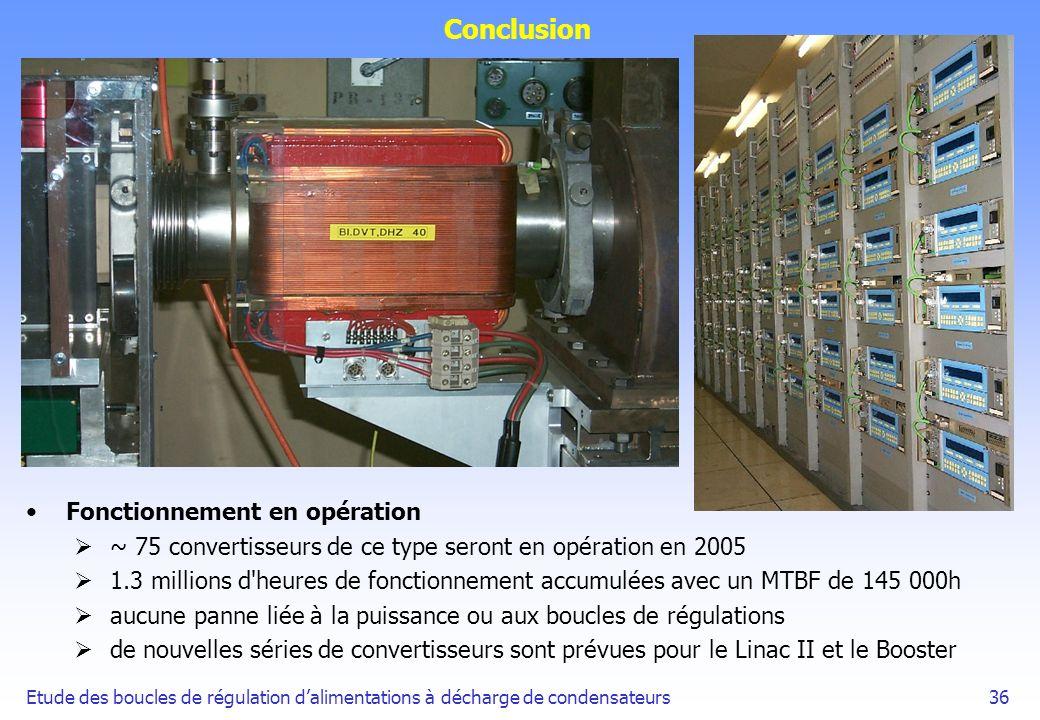 Conclusion Fonctionnement en opération