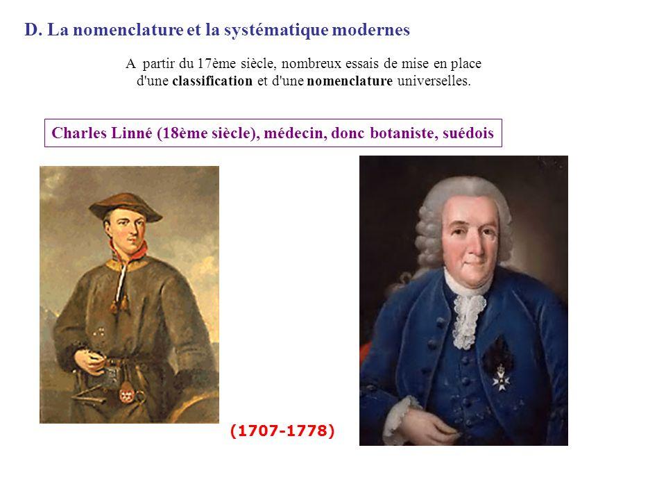 D. La nomenclature et la systématique modernes