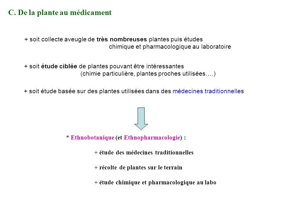 C. De la plante au médicament