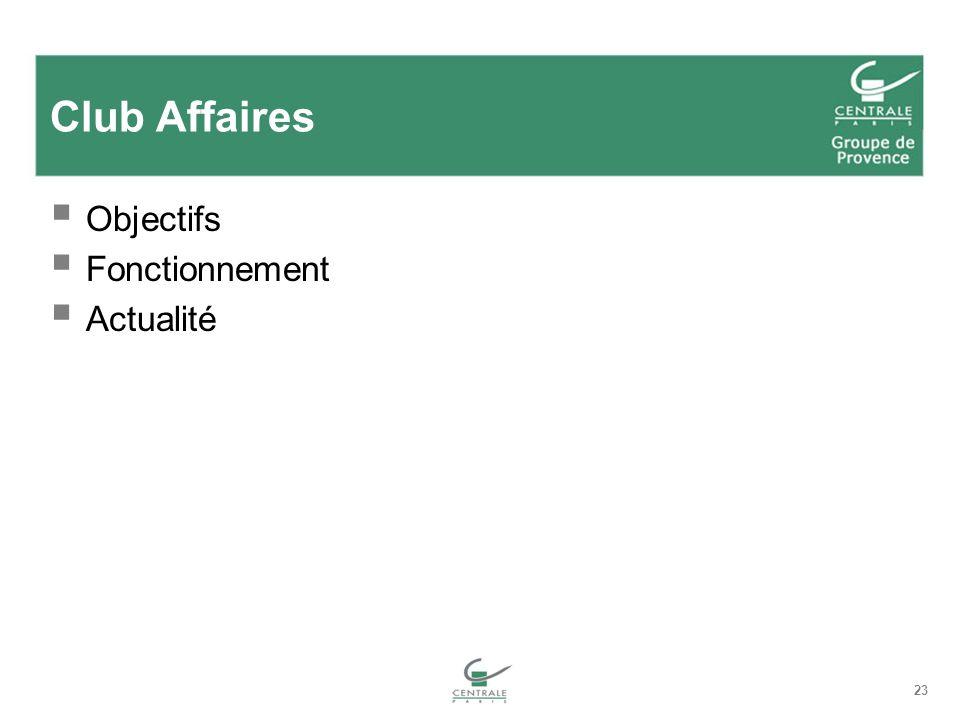 Club Affaires Objectifs Fonctionnement Actualité