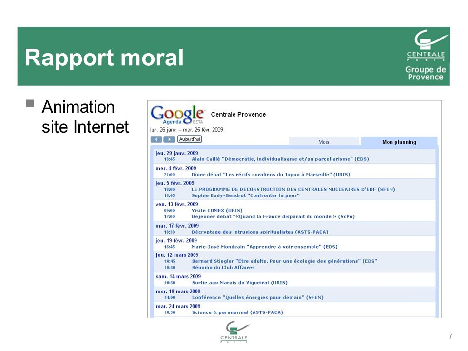 Rapport moral Animation site Internet