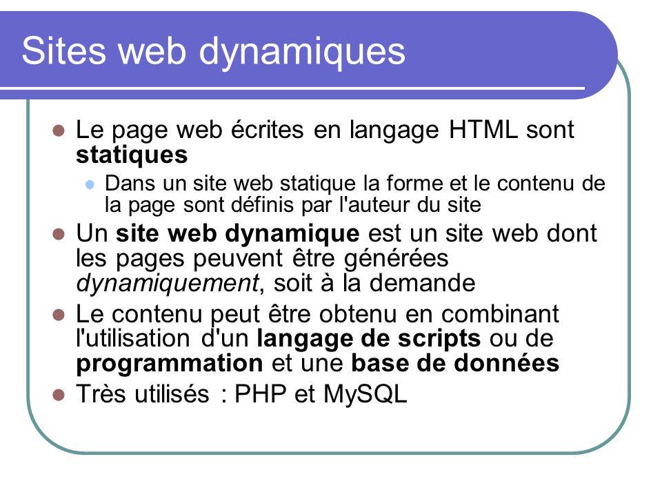 Sites web dynamiques Le page web écrites en langage HTML sont statiques.