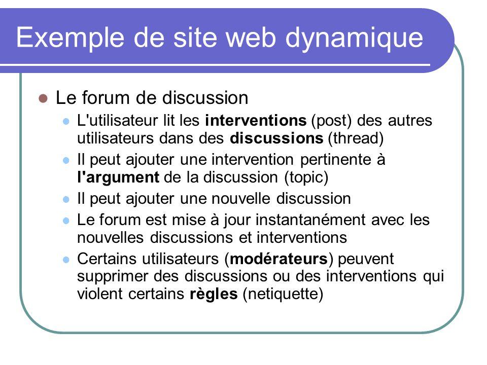 Exemple de site web dynamique