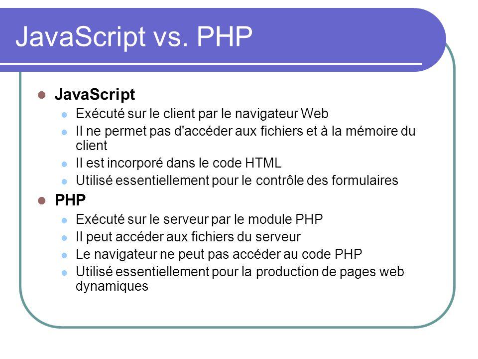 JavaScript vs. PHP JavaScript PHP