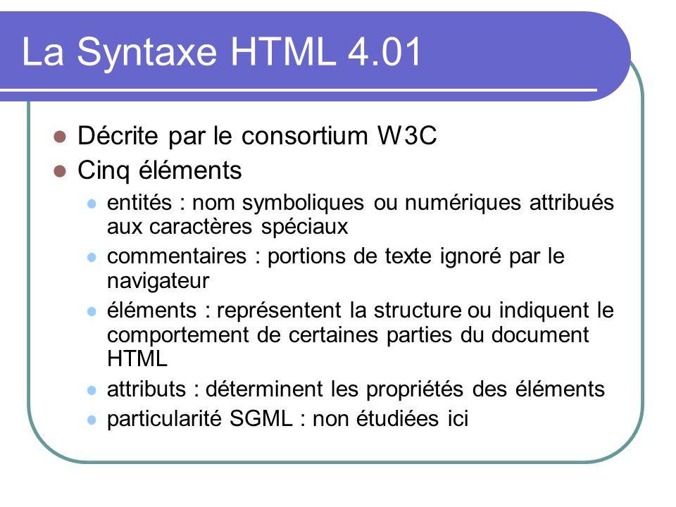 La Syntaxe HTML 4.01 Décrite par le consortium W3C Cinq éléments
