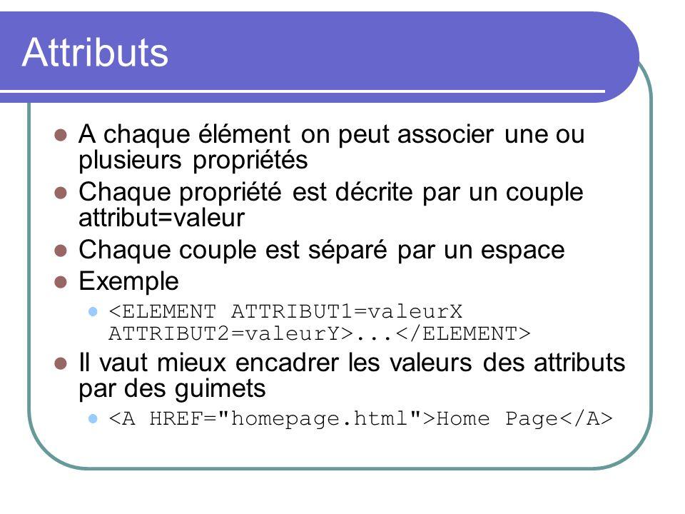 Attributs A chaque élément on peut associer une ou plusieurs propriétés. Chaque propriété est décrite par un couple attribut=valeur.