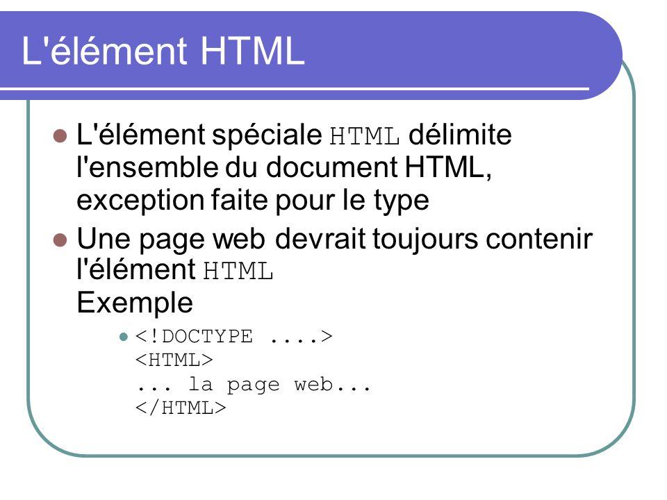 L élément HTML L élément spéciale HTML délimite l ensemble du document HTML, exception faite pour le type.