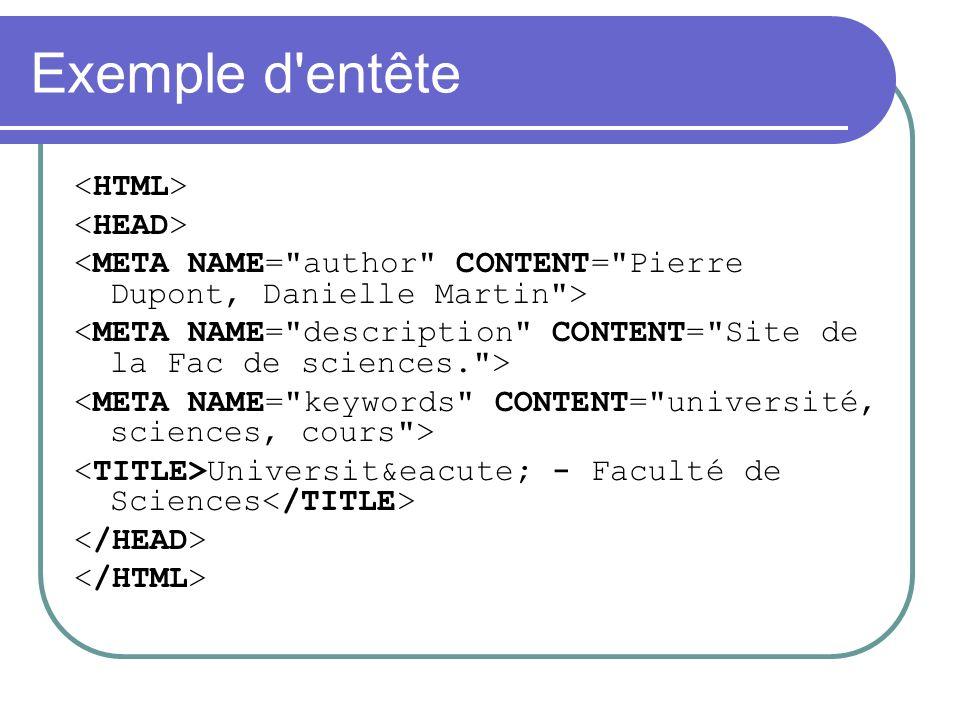 Exemple d entête <HTML> <HEAD>