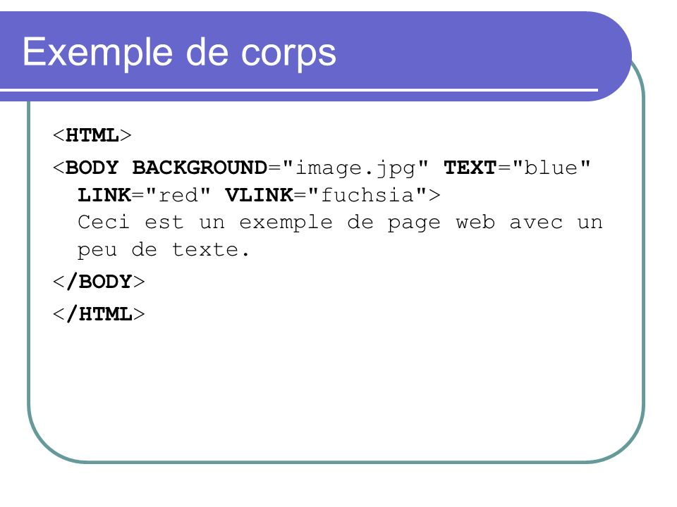 Exemple de corps <HTML>