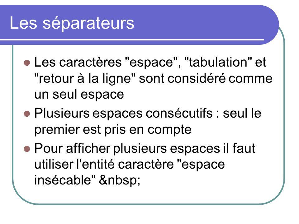 Les séparateurs Les caractères espace , tabulation et retour à la ligne sont considéré comme un seul espace.
