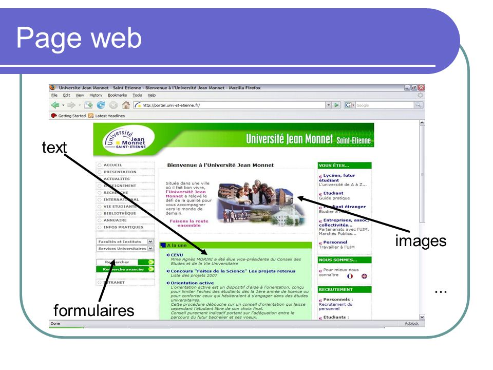 Page web text images ... formulaires