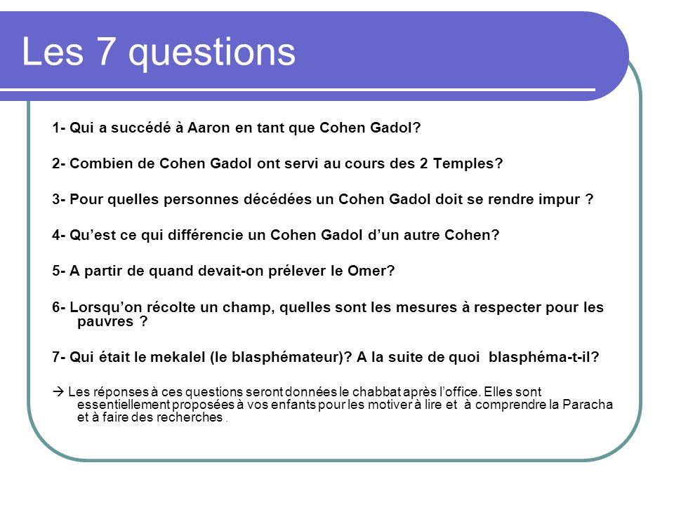 Les 7 questions 1- Qui a succédé à Aaron en tant que Cohen Gadol