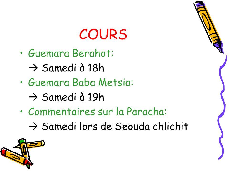 COURS Guemara Berahot:  Samedi à 18h Guemara Baba Metsia: