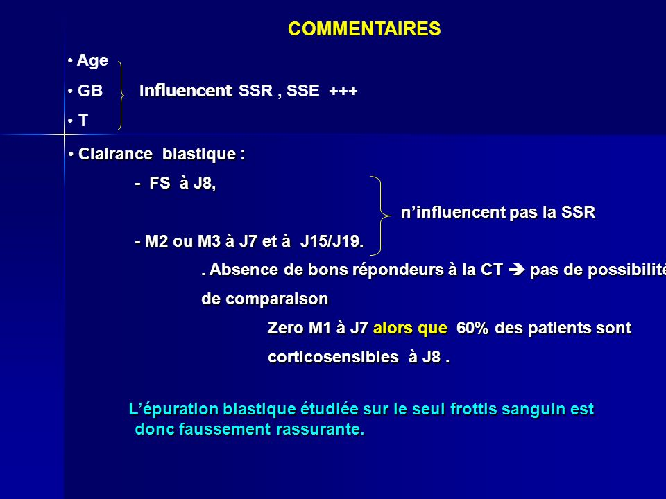 COMMENTAIRES Age GB influencent SSR , SSE +++ T Clairance blastique :