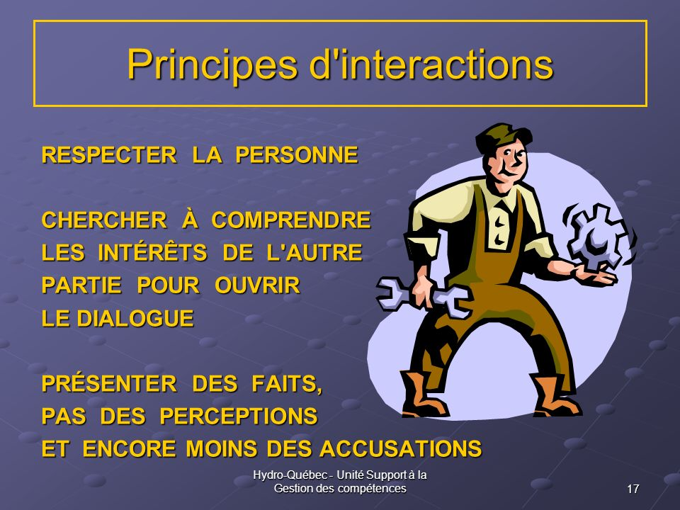 Principes d interactions