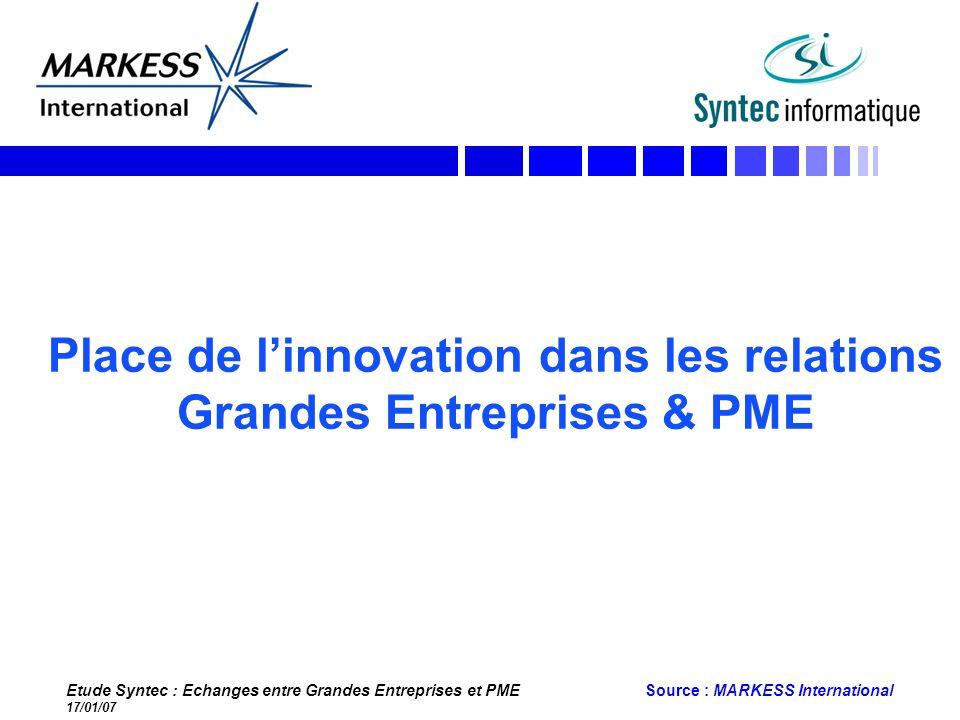 Place de l'innovation dans les relations Grandes Entreprises & PME