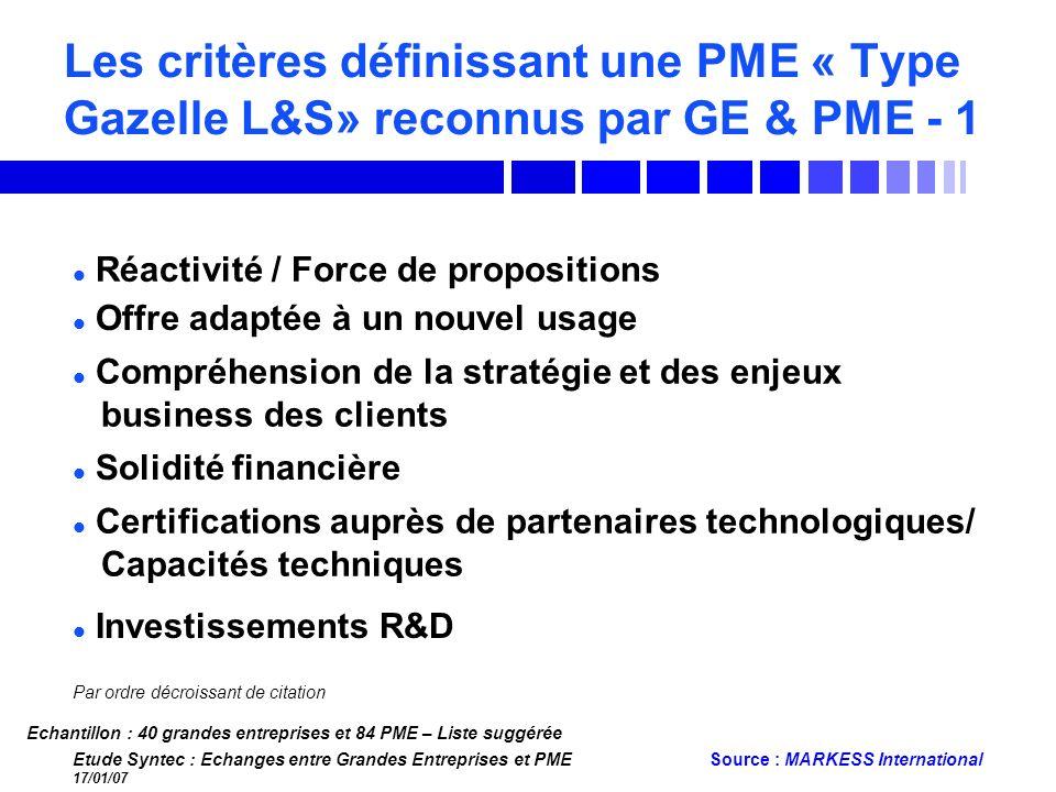 Les critères définissant une PME « Type Gazelle L&S» reconnus par GE & PME - 1