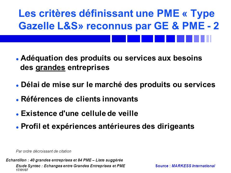Les critères définissant une PME « Type Gazelle L&S» reconnus par GE & PME - 2