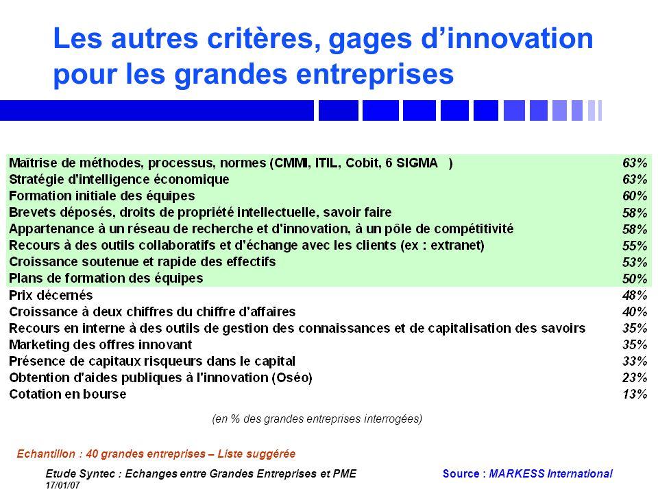 Les autres critères, gages d'innovation pour les grandes entreprises