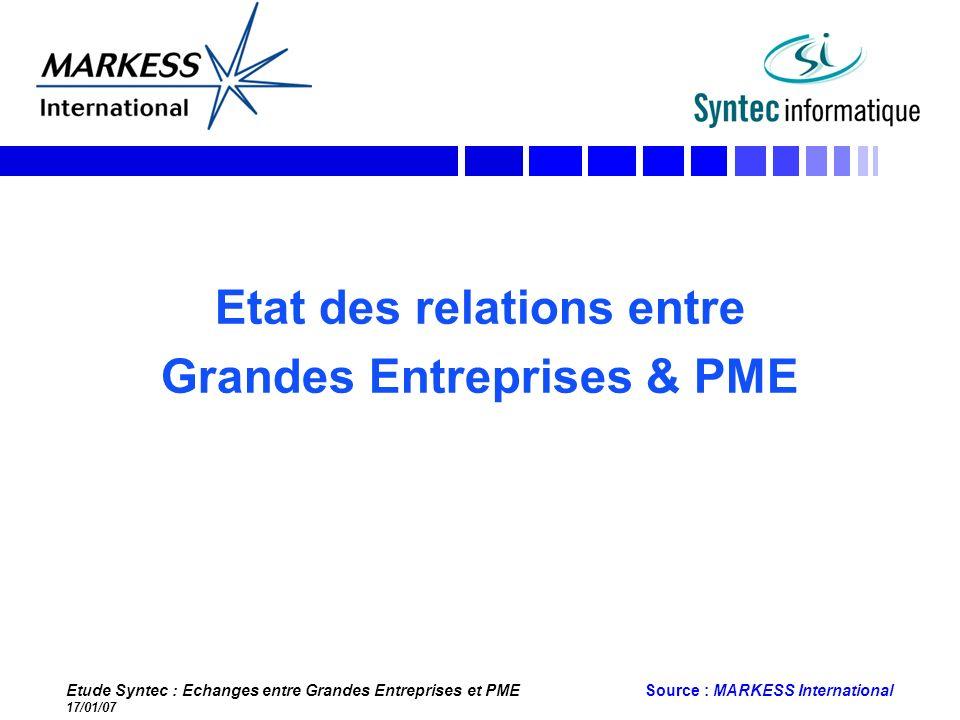 Etat des relations entre Grandes Entreprises & PME
