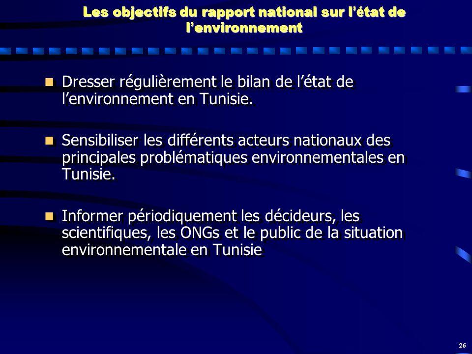 Les objectifs du rapport national sur l'état de l'environnement