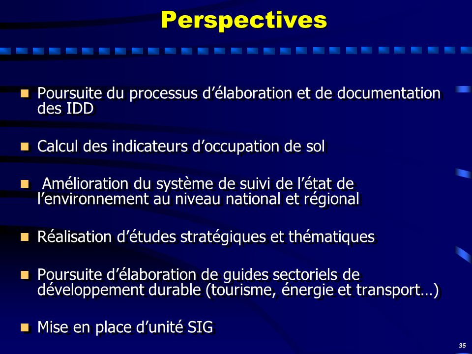 Perspectives Poursuite du processus d'élaboration et de documentation des IDD. Calcul des indicateurs d'occupation de sol.