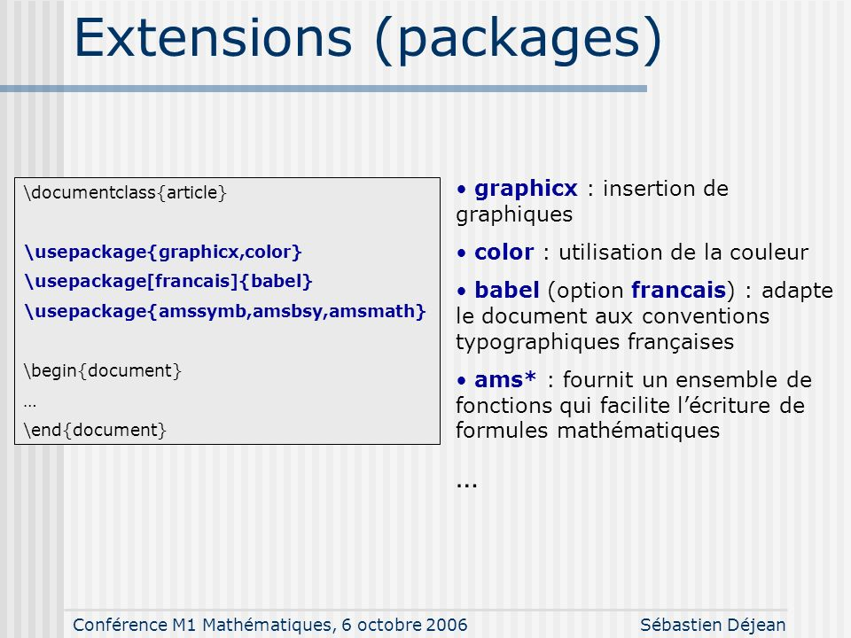 Extensions (packages)