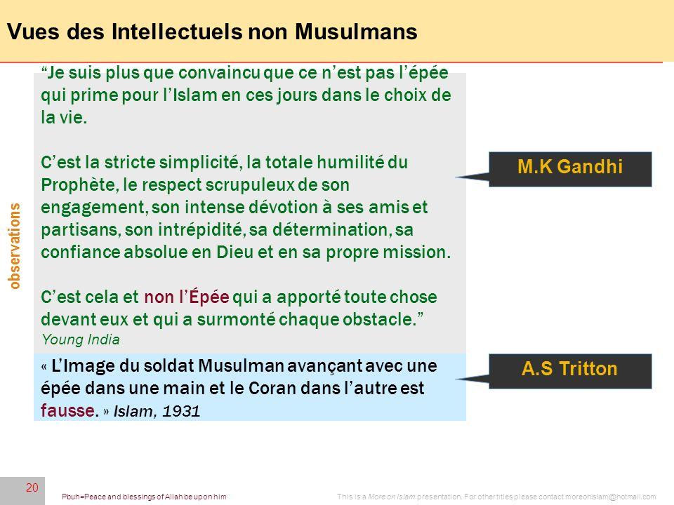 Vues des Intellectuels non Musulmans
