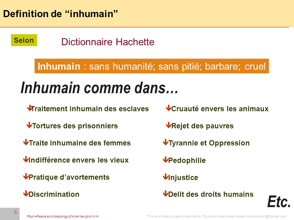 Definition de inhumain