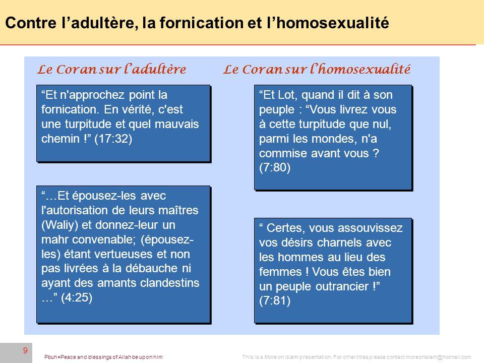 Contre l'adultère, la fornication et l'homosexualité
