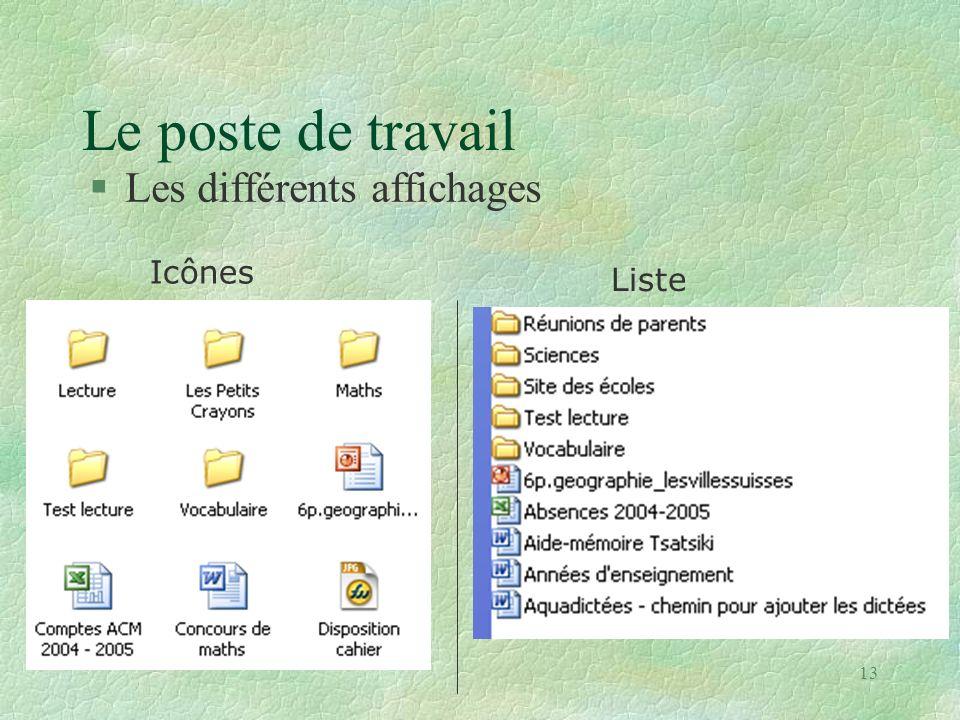 Le poste de travail Les différents affichages Icônes Liste