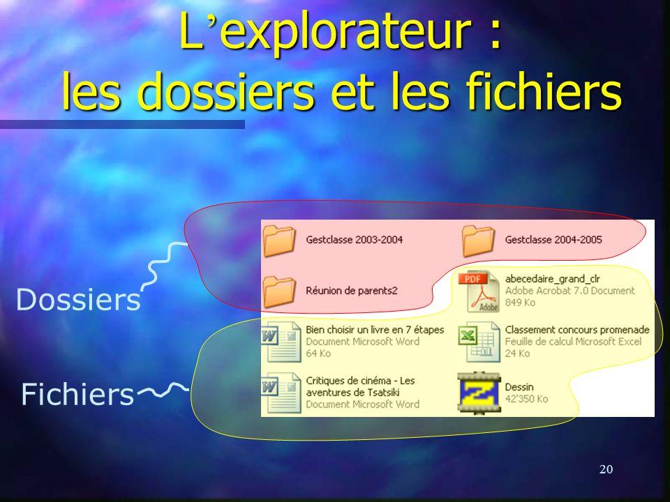 L'explorateur : les dossiers et les fichiers