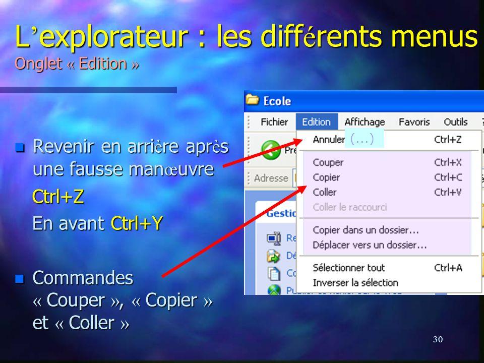 L'explorateur : les différents menus Onglet « Edition »