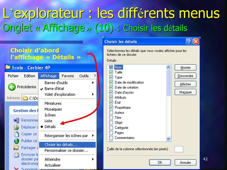 L'explorateur : les différents menus Onglet « Affichage » (10) : Choisir les détails