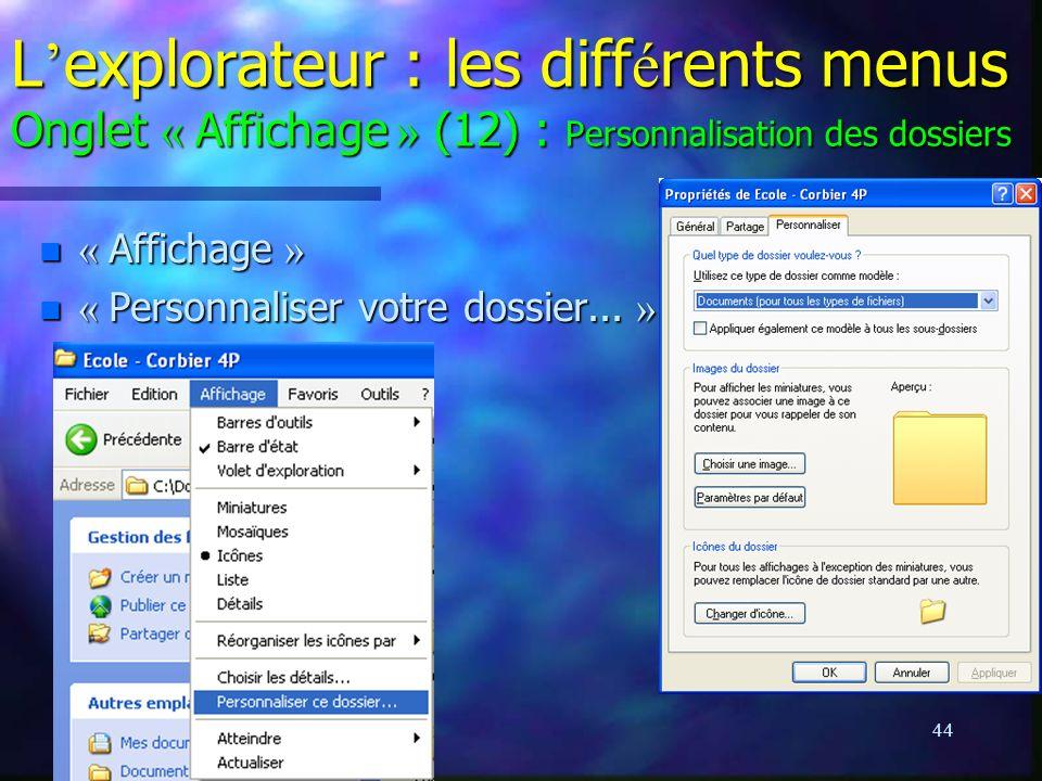 L'explorateur : les différents menus Onglet « Affichage » (12) : Personnalisation des dossiers