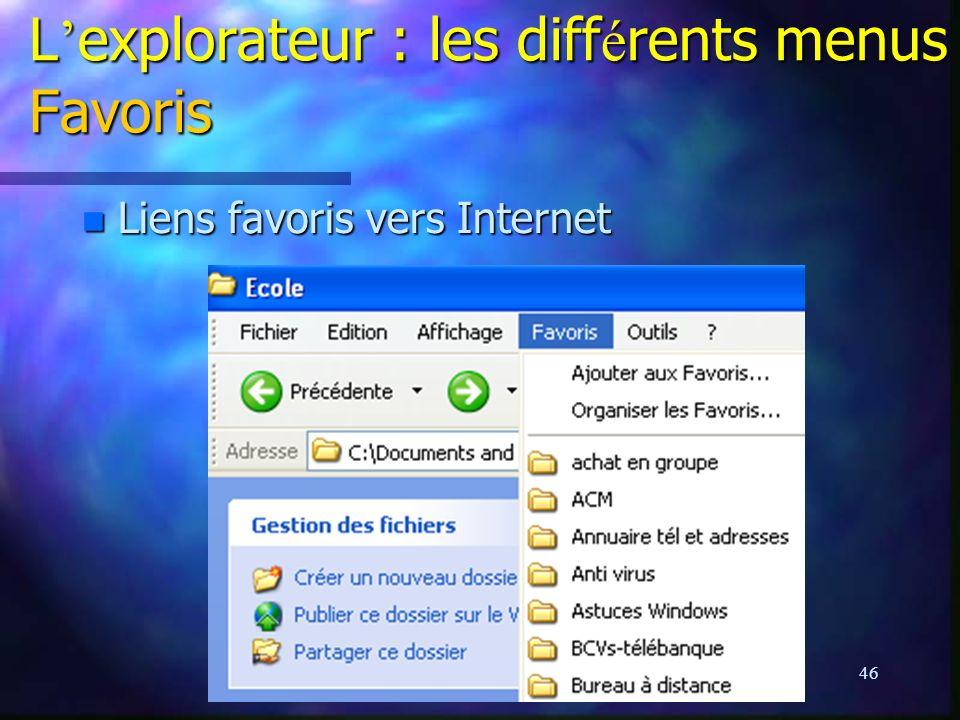 L'explorateur : les différents menus Favoris