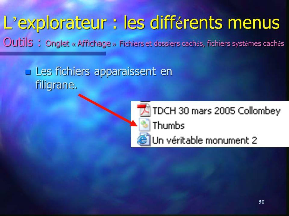 L'explorateur : les différents menus Outils : Onglet « Affichage » Fichiers et dossiers cachés, fichiers systèmes cachés