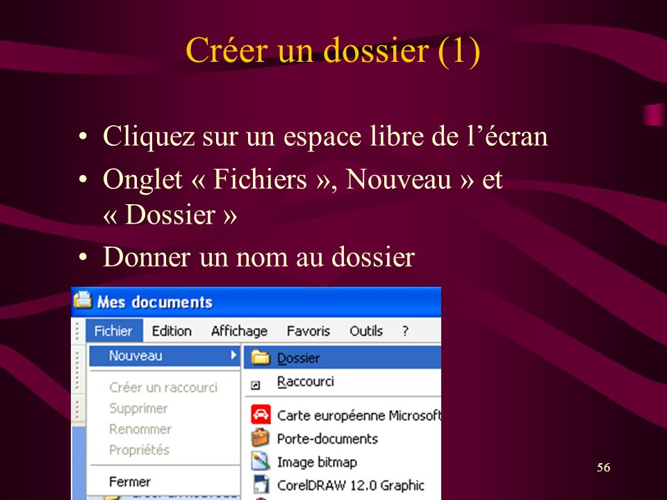 Créer un dossier (1) Cliquez sur un espace libre de l'écran