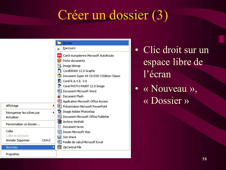 Créer un dossier (3) Clic droit sur un espace libre de l'écran