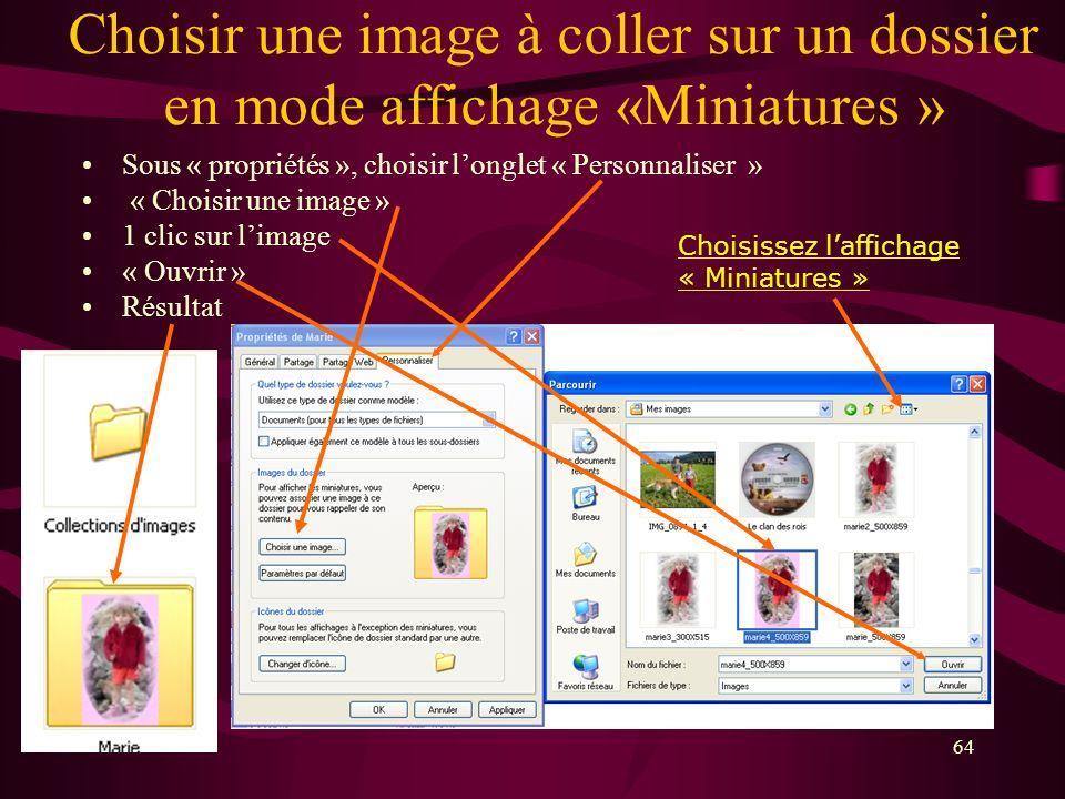 Choisir une image à coller sur un dossier en mode affichage «Miniatures »