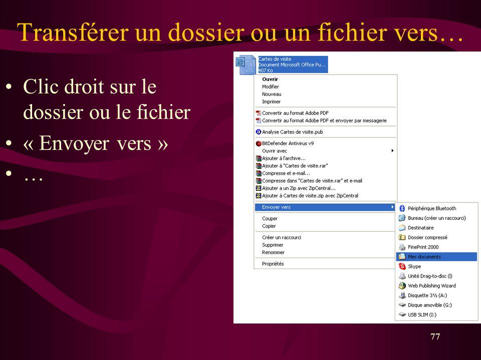 Transférer un dossier ou un fichier vers…