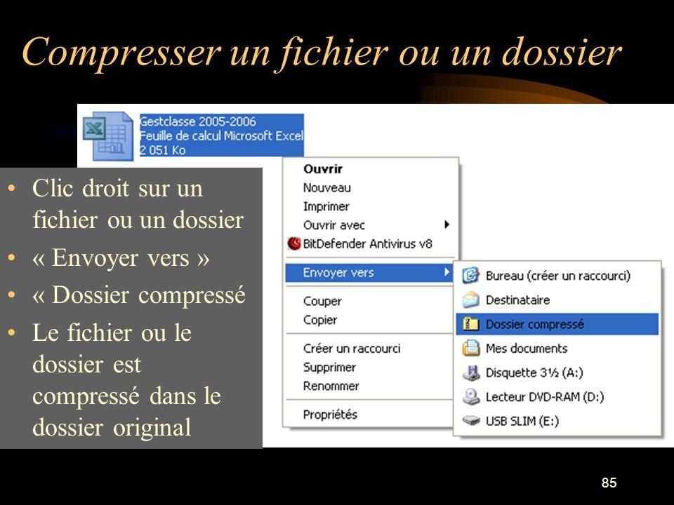 Compresser un fichier ou un dossier