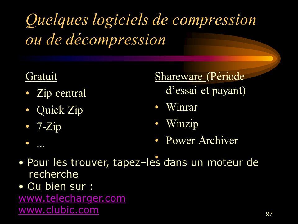 Quelques logiciels de compression ou de décompression