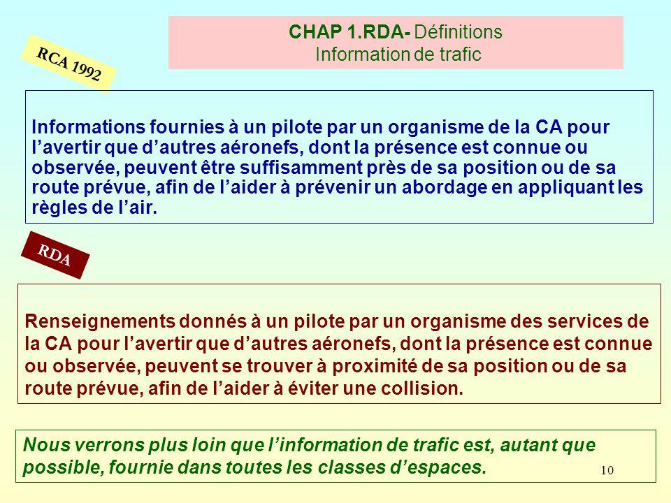 CHAP 1.RDA- Définitions Information de trafic
