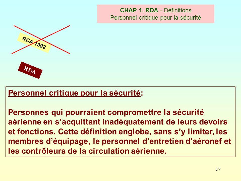 CHAP 1. RDA - Définitions Personnel critique pour la sécurité