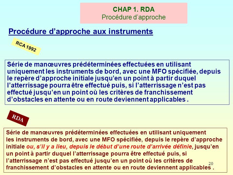 CHAP 1. RDA Procédure d'approche